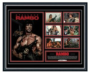 RAMBO FIRST BLOOD SYLVESTER STALLONE SIGNED POSTER PHOTO LE FRAMED MEMORABILIA
