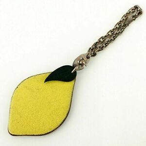 HERMES Fruit Bag Charm Key Holder Lemon Leather Yellow Green