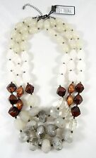 Fabulous New 3 Stranded Bead Necklace In Earth Tones & Grays $29.99 Tags #N2439