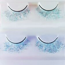 Glitter Sky Blue Strips Lace False Eyelashes Extension Party Stage Makeup New