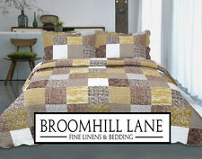 New! DOUBLE BED SET Green Brown Vintage Retro Patchwork Quilted Bedspread Throw