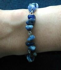 Blue lapis stone bracelet with stainless steel lobster claw clasp and pins 7.5""