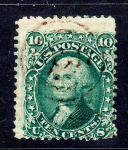 Sc# 89 E grill 10c green used target cancel Good pulled perfs strong grill