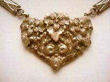 Silvertone Heart Necklace  Art Nouveau Vintage Flowers
