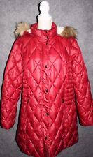 Womens Plus 2X Dressbarn Red Quilted Puffer Coat Fur Hood Outdoor Winter