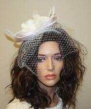 White Feather Fascinator with Birdcage Veil, Headband, Wedding Accessories