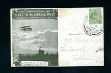 More details for 1911  first uk aerial post  green card with edward vii  1/2d small fault  (s693)