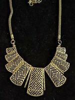 Gold Tone Egyptian Revival Bronze Statement Bib Necklace Choker Collar