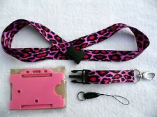 Animal Print Fabulous Pink Leopard Lanyard, Neck Strap with Plastic Buckle & ID