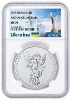 Deal! 2015 Ukraine 1 oz Silver Archangel Michael NGC MS70 Ukraine Label SKU48625
