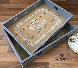 Catania - Shabby Chic Vintage Style Serving Tray (Duck Egg Blue & Almond)