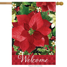 """Poinsettia Welcome Christmas House Flag Floral Holiday 28"""" x 40"""" Briarwood Lane"""