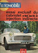 L'AUTOMOBILE 196 1962 PEUGEOT 404 CABRIOLET LANCIA FLAMINIA ZAGATO CITROEN 5HP
