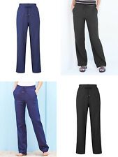 LADIES ANTHOLOGY NAVY OR BLACK LINEN BLEND TROUSERS SIZE 12  P&P