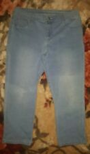 WOMENS Sz 16 blue NOW long denim shorts LOVELY! FAKE POCKETS ON FRONT!