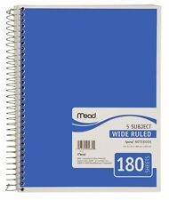 (PACK OF 4) Mead Spiral Notebook, 5 Subject, Wide Ruled, 180 Sheets, Blue (72235