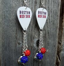 MLB Boston Red Sox Guitar Pick Earrings with Charm and Pave Bead Dangles