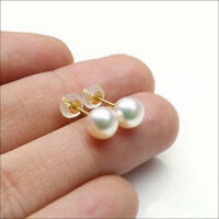 18K Yellow Gold AAA 6-6.5MM Genuine Akoya Cultured White Pearl Ear Stud Earrings