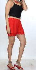 Women's Red Lace Hem Shorts Ladies Beach Party Shorts Girls Short Shorts Strechy