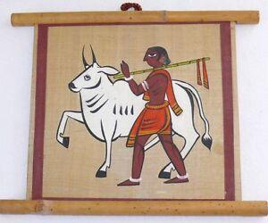 Vintage Handpainted Silk Egyptian African Aztec Indian Bull Man Wall Art Bamboo