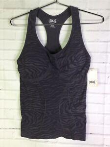 Everlast Womens XL Animal Print Gray Seamless Activewear Tank Top With Bra NEW