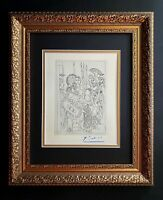 PABLO PICASSO ORIGINAL 1962 SIGNED SUPERB ENGRAVING MATTED 11 X 14 + LIST $895