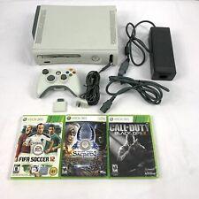New listing Original Microsoft Xbox 360 60Gb White Console w/ Cables, 1 control and 3 games