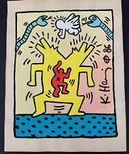 """Vintage Keith Haring Pop Art Painting on Paper 11"""" x 8.25"""""""