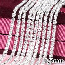 10M Clear Crystal Glass Rhinestone Compact Close Silver Chain Trims Applique