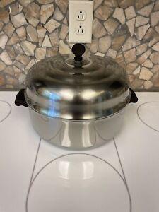 Vintage Farberware Aluminum Clad 5 Quart Stock Pot w/ High Dome Lid Cover MCM