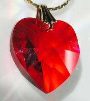 """Ruby Red Swarovski Austrian Crystal 6202-18mm Lt Siam Heart 3/4"""" July Birthstone"""