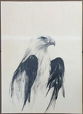 "Larry Fodor Original American Eagle Pencil Drawing Signed Dated 1972  36""x26"""