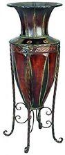 Vintage Metal Planter Vase + Stand Ornament Living Entryway Hallway Furniture