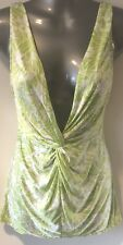Victoria's Secret Green & White Slinky 70's Style Chemise Negligée Small