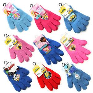 Boys Girls Gloves Set One Size Knitted Winter Minions Disney Frozen Avengers New