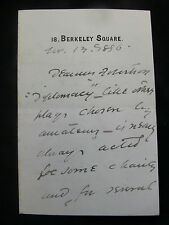 """Sir Squire Bancroft 1896 4p Autograph Letter re Play """"Diplomacy"""""""