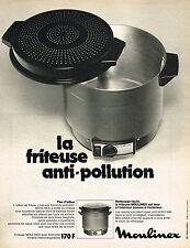 PUBLICITE ADVERTISING 064  1973  MOULINEX   la friteuse anti- pollution