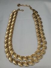 Vintage Signed Lisner Gold Tone Leaves Necklace Heavy Amazing Condition
