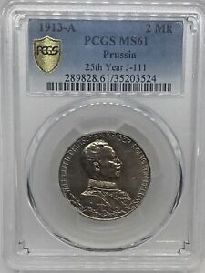 1913-A   2  MARK  PRUSSIA 25th YEAR  J-111~~PCGS MS61