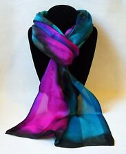 Hand Painted Silk Scarf Teal Green Turquoise Blue Hot Pink Oblong Neck Head Gift