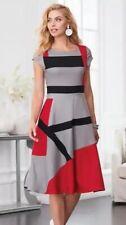 Midnight Velvet Gray Black Red Dinner Cocktail Church Sheath Dress Size 12 14 16