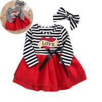 Toddler Baby Girl Valentines Kids Striped Tulle Dress With Headband Outfits Sets