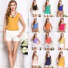 NEW Women Girls Casual Loose Sleeveless Chiffon Vest Tank T Shirt Blouse Tops