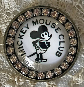 MICKEY MOUSE CLUB Glass Rhinestone BROOCH Lapel Scatter Pin 1930's Pinback Image