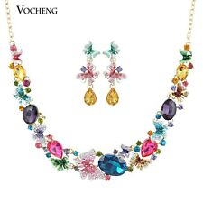 Crystal Jewelry Set Colourful Butterfly Necklace and Earring Alloy Metal Vs-161