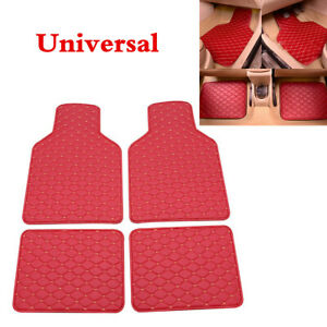 New 4Pcs Red PU Leather Universal Car Truck Front Rear Carpet Liner Floor Mats