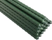 25 Pack Plastic Coated Steel Garden Plant Stakes for Tomatoes Trees (4FT Length)