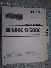 Teac w-500c d-500c Service Manual Original Reparatur Buch Stereo Tape Deck Player