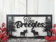 Personalized Moose Sign Custom Family Last Name Sign Outdoor Pine Tree Mount