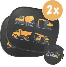 2x HECKBO Selbsthaftende Auto Sonnenblende Kinder - 44x36 cm - Baufahrzeuge